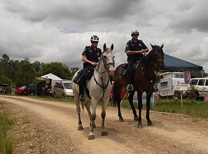 Queensland Police Service - Mounted Police patrolling campgrounds