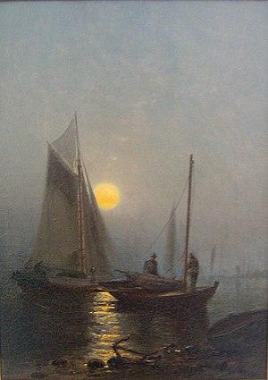 Arthur Quartley - Early Moonlight Naragansett Bay 1877. Source: Collection of C. Michael Hogan, Sonoma Valley, Ca.