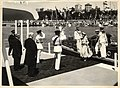 Queen Elizabeth the Second alighting the Royal Barge in Sydney Harbour 1954.jpg