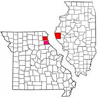 Map of the Quincy Micropolitan Area with Marion County highlighted in pink