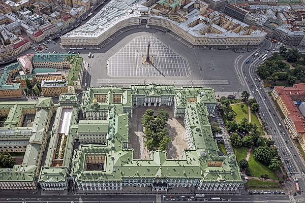 Aerial view of the Palace Square, between the Winter Palace (bottom) and the Building of the General Staff (top).