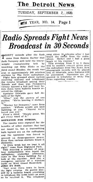WJY (Hoboken, New Jersey) - Image: Radio Spreads Fight News Broadcast in 30 Seconds 07SEP1920