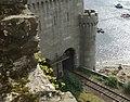 Railway emerging from the tubular bridge, Conwy - geograph.org.uk - 1770439.jpg