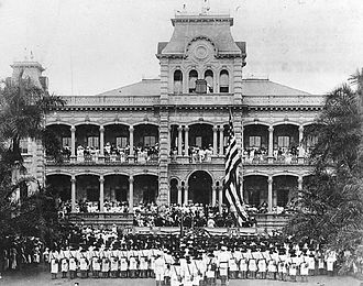 Ceremonies during the annexation of the Republic of Hawaii, 1898 Raising of American flag at Iolani Palace with US Marines in the foreground (detailed).jpg