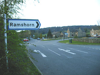 Ramshorn - Signpost to Ramshorn from a junction near Cotton on the route to Alton Towers