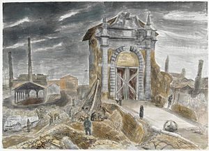 Edward Bawden - Ravenna- Royal Engineers' working party collecting material for bridge repairs and road making at the Porta Cybo. (IWM ART LD4967)