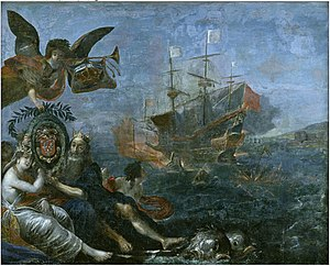 Claude de Razilly - Successful resupply of Ile de Ré by Claude de Razilly in 1627, painted by Claude Vignon (1642). He is depicted in the guise of Neptune, with his wife Perrine Gaultier, in the bottom left corner.