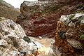 Red-white rock formations in Pervola canyon.JPG