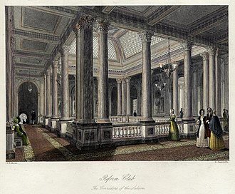 Reform Club - This 1840s drawing depicts the Gallery above the club's Saloon at first floor level.
