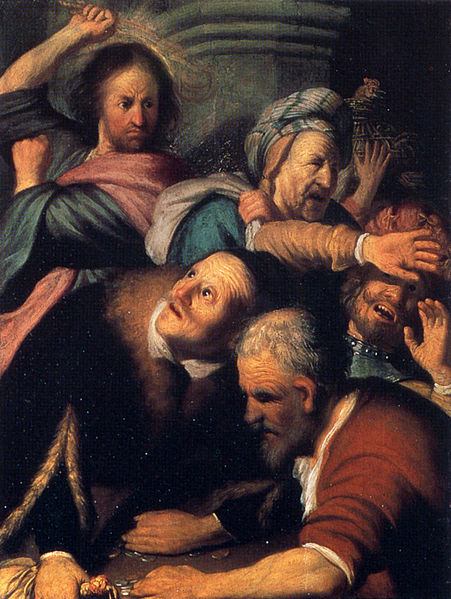 File:Rembrandt Christ Driving the Money Changers from the Temple.jpg