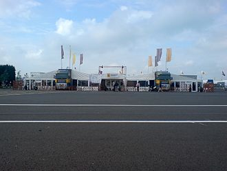 Renault Sport - Renault Sport articulated lorrys with extended tents, representing Renault at Silverstone for the Renault World Series.