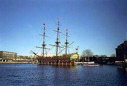 VOC Amsterdam replicates the three-masted, full-rigged VOC vessel which was launched in 1748 and sunk in 1749.