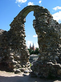 The Rēzekne castle moond wi Livonian Order castle ruins
