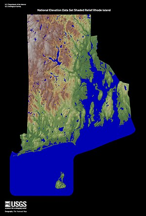 Rhode Island - Terrain map of Rhode Island