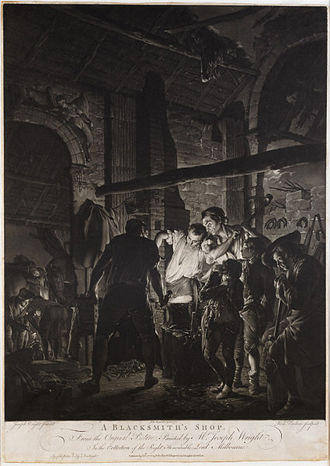 Richard Earlom - A Blacksmith's Shop (1771), after a painting by Joseph Wright.