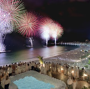 New Year's Eve - Fireworks in New Year's Eve celebration in Copacabana, Rio de Janeiro, Brazil