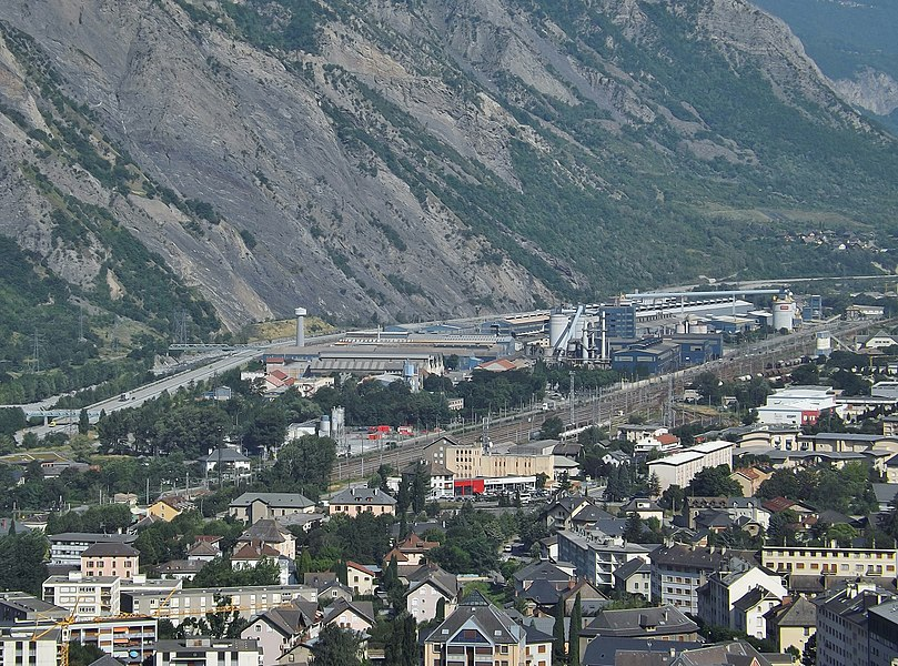 Sight of Rio Tinto Alcan (Canadian aluminium producer) industrial area, in Saint-Jean-de-Maurienne (Maurienne valley), Savoie, France.