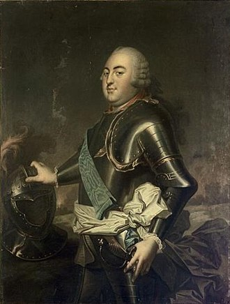 Louis, Duke of Orléans (1703–1752) - Image: Rioult portrait after van Loo depicting Louis Philippe d'Orléans, Duke of Orléans (Versailles)