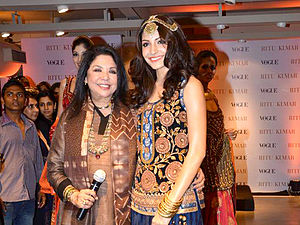 Ritu Kumar - Ritu Kumar (left) with Anushka Sharma at the launch of Kumar's flagship store