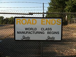 Stanley Aviation - Sign outside the former Stanley Aviation plant.