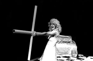 Experimental theatre - Robin Bittman in Corner Theatre ETC's 1981 production of Tom Eyen's The White Whore and the Bit Player,  directed by Brad Mays.