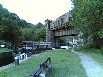 Rochdale Canal - The castellated railway viaduct of the Manchester and Leeds Railway just south of Todmorden