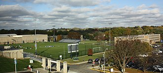 Rockhurst University - Rockhurst field with Xavier-Loyola residence hall at right