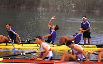 Romania at the 1992 Summer Olympics - Romanian men's coxed four after winning the gold medal