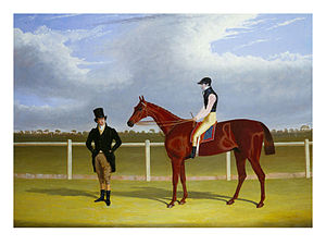 Rowton (horse) - The Hon. E. Petre's Rowton with W. Scott up and his trainer at Doncaster by John Frederick Herring, Sr.