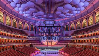 Diffusion (acoustics) - The Royal Albert Hall viewed from a central box in the Grand Tier.