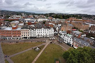 Royal Clarence Hotel - The hotel and surrounding buildings from the roof of the north tower of Exeter Cathedral in 2010
