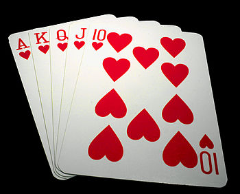 Royal straight flush of hearts.