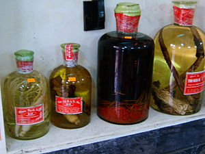 Rượu thuốc - Several varieties of rượu thuốc. The first bottle from the right is tiger penis rượu thuốc