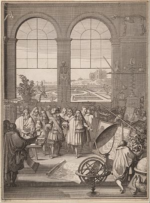 17th century - Image: Sébastien Leclerc I, Louis XIV Visiting the Royal Academy of Sciences, 1671