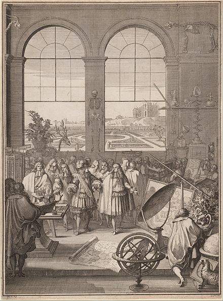 Louis XIV Visiting the Royal Academy of Sciences, (Sebastien Leclerc I, France, 1671) Sebastien Leclerc I, Louis XIV Visiting the Royal Academy of Sciences, 1671.jpg