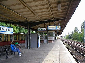 Berlin-Karow station - A platform at Karow station, from which S-Bahn as well as regional trains arrive and depart