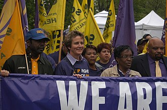 Mary Kay Henry - SEIU leaders Mary Kay Henry and Dian Palmer lead a march