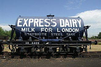 British Railway Milk Tank Wagon - Preserved Express Dairies three-axle Milk Tank Wagon at the Didcot Railway Centre, based on an SR chassis