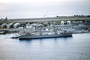 Operation Steel Box - SS Gopher State, one of two ships that carried chemical weapons to Johnston Atoll, pictured here upon arrival at the atoll during Steel Box.