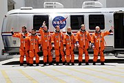 Photo STS-124 in front of NASA Astrovan before liftoff at Kennedy Space Center.