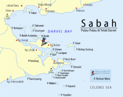 Location of Timbun Mata Island in Darvel Bay