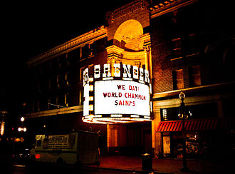 Saenger Theatre (New Orleans) - February 2010: Marquee celebrates the victorious New Orleans Saints