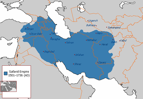 The Safavid Empire at its greatest extent. Safavid Empire 1501 1722 AD.png