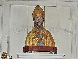 buste-reliquaire : saint évêque (ensemble du tabernacle du chœur) à Saint-Chabrais