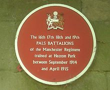 A commemorative plaque for the Salford Pals.