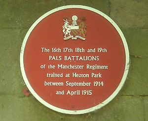 Pals battalion - A commemorative plaque for the Salford Pals.
