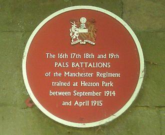 Pals battalion - A commemorative plaque for the Salford Pals.