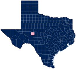 Mappa del Texas con la contea di Irion evidenziata.