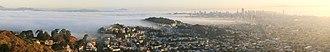San Francisco fog - Image: San Francisco Downtown, and Golden Gate Bridge early morning panorama