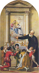 Saint Philip invites children to venerate the Madonna